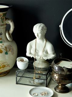 Bust for jewelry storage on dressing table