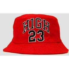 730719f850b HIGH 23 Red Bucket Hat ( 8) ❤ liked on Polyvore featuring accessories