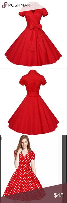 "Red cotton dress S-US2  Length 87 cm/ 34.3 "" Bust 83 cm/ 32.7 "" Waist 68 cm/ Dresses Midi"