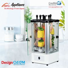 #Automatic_Electric_Vertical_Grill_kebab_meat_machine_with_Timer http://www.apg-appliance.com/bbq-maker/ 1.Power: 1400W, 230V, 50Hz       2.Drains away unwanted fat into a drip tray          3.Stainless steel body, large view helps you enjoy cooking  4.Tip over protection  5.10 mins timer       6.Five removable glass doors, makes cleaning easier     7.Function: rotisserie chicken, shawarma, kabab, grill fish, cook vegetables. Accessory: Rotisserie set, 5 skewers,food tray, kabab set, fish…