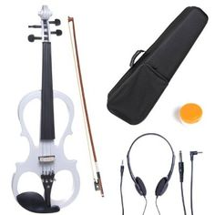 Cecilio 4/4 CEVN-1W Solid Wood Electric/Silent Violin with Ebony Fittings in Style 1 - Full Size - Pearl White
