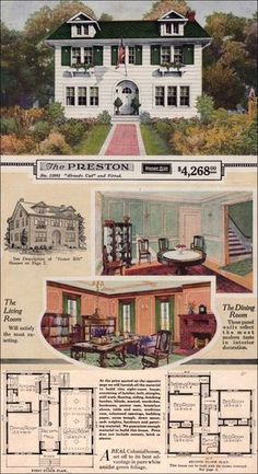 idea for backyard sidewalk Modern Colonial Revival - 1923 Sears Preston - Kit House - Side gable, eclectic entry The Plan, How To Plan, Sears Catalog Homes, Vintage House Plans, Vintage Homes, Vintage Antiques, Modern Colonial, 1920s House, House Siding