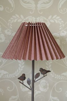 Metal bird table lamp pleated red shade shabby vintage cottage chic gingham