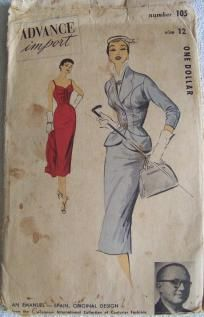 Vintage Dress Pattern Advance Import 105 - shipping included $4.50