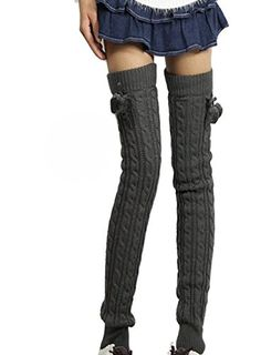 43283f4b483 Bronze Times Cable Khit Soft Thickness Over Knee Thigh-High Hosiery Socks  Leg Warmer Grey