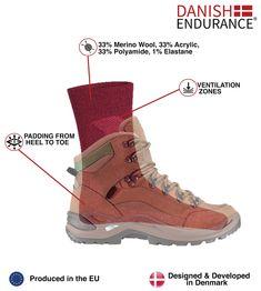 Tempe Merino Wool Hiking /& Trekking Socks by DANISH ENDURANCE for Men and Women