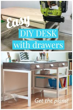 This DIY Modern Farmhouse desk with storage is a great beginner build! Perfect for work from home or home school. The simple plans will help you build your own desk in no time. #anikasdiylife Scrap Wood Projects, Beginner Woodworking Projects, Diy Furniture Projects, Diy Woodworking, Furniture Makers, Farmhouse Desk, Modern Farmhouse, Wood Table Design, Wood Plans