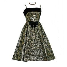 1950's Vintage Metallic-Gold & Black Ruched Brocade Rockabilly Party Dress JUST LISTED on www.TimelessVixen.com