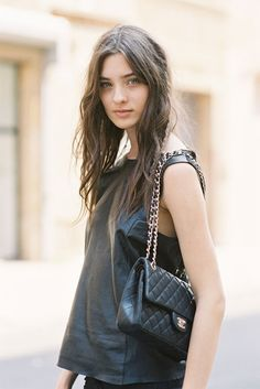 #CarolinaThaler throwing some face in that fab black leather top. #offduty in NYC.