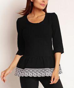 Love this Black Lace Peplum Top on #zulily! #zulilyfinds