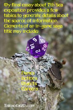 Saga Tables: Exposition 7th Sea Style Part 3 » Tales of a GM