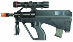 "Stunt Police Gamo Mini Steyr Aug Airsoft Rifle by AfterMath. $32.85. The Mini Steyr AUG, A compact electric rifle capable of 150 fps. It has a metal upper receiver and a spring safety switch. It is powered by 4 ""AA"" batteries."