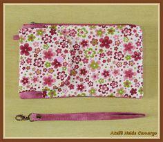 Porta Celular Floral Rosa e Verde Zíper