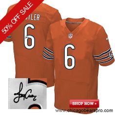 $129.99 Men's Nike Chicago Bears #6 Jay Cutler Elite Orange NFL Alternate Autographed Jersey