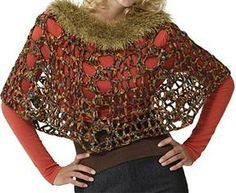Crochet Fur-Trimmed Poncho
