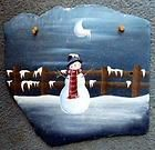 Country Snowman Slate Plaque Hand Painted Family Xmas Genuine 12 x 12