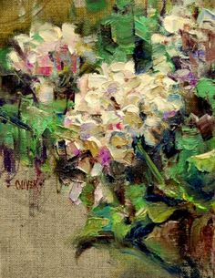 White Geraniums - Study, painting by artist Julie Ford Oliver