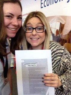 Chandler (Communications) and Nina (HR) with their selfie after a talk with students about apprenticeships