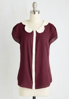Teacher's Petal Top in Burgundy. Go for the gold star by buttoning into this wine red blouse! #red #modcloth