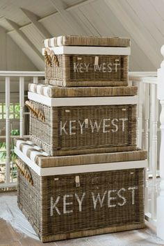 love it! beautiful beachy storage.