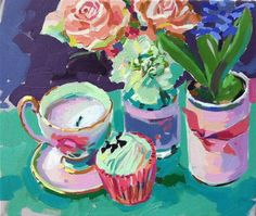 """Daily Paintworks - """"Cupcake and roses"""" by Haidee-Jo Summers  10x12in  495usd"""