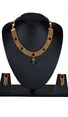 #StoneJewellery - Stone Studded Gold Finish Necklace Set Costs Rs. 1,499. BUY it here: http://www.artisangilt.com/imitation-jewellery-fashion-jewelry/necklace-sets/stone-studded-gold-finish-necklace-set-110854.html?ref=pin