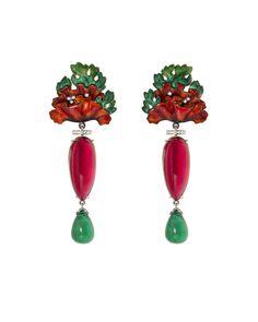Poppies earrings by Ilgiz Fazulzyanov. Gold, emerald, ruby, diamonds, enamel.