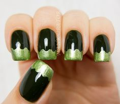 Green (funky french tips nail art)