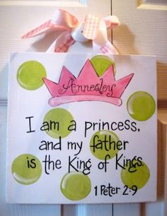 Princess Baby Girl Bible Verse Canvas Sign. $25.00, via Etsy. I mean I can paint this on my own for cheaper