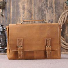 Ledertaschen - Leather Briefcase, Men's Laptop Bag, Shoulder Bag - ein Designerstück von Lisa-Krasil bei DaWanda