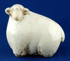 "folk art sheep | Folk Art Pottery Sheep Ram 6.25"" Tall - Other American Pottery"