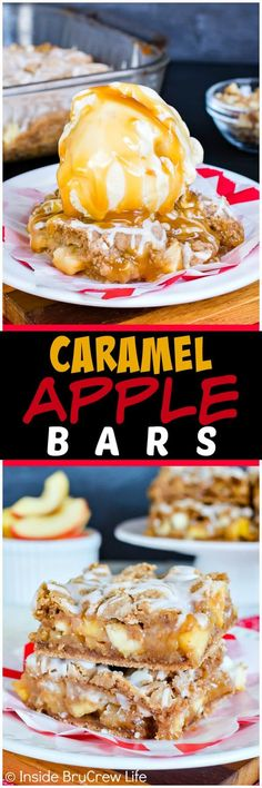 Caramel Apple Bars - this gooey bar recipe is loaded with apples, walnuts, and caramel. Add vanilla ice cream to make an awesome fall dessert!