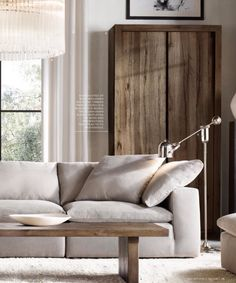 Great idea from restoration hardware. Instead of a traditional table and lamp, an adjustable floor lamp