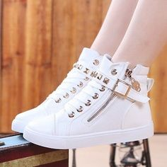 Fashion Canvas Womens Lace Up Studded Buckle High Top Casual Sneakers Trainers