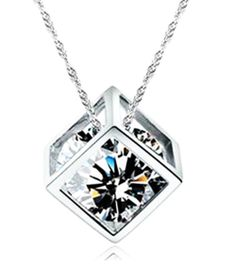 59dbb5b79 2016 Fashion 925 Sterling Silver Jewelry For Women Geometric Cubic Zirconia  Charm Necklace&Pendant Mother's Necklaces collares