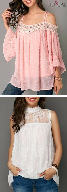 Ruffle Hem Criss Cross Back Pink Blouse/ Sleeveless Lace Panel Mock Neck White Blouse   #liligal #top #blouse #shirts #tshirt