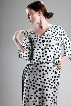 Daniela Gregis | wide calf-length dress (112 cm) in silk crêpe de chine with irregular spots and plain parts |