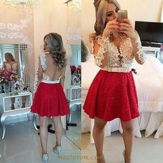 NextProm.com Offers High Quality Short Red Lace Cocktail Dress With Sheer White Long Sleeve Lace Bodice,Priced At Only USD $108.00 (Free Shipping)