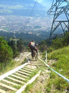 mountainbike extreme-racer - with a view over #Innsbruck ...  Innsbruck, yes..mountainbike, NO...love the view!