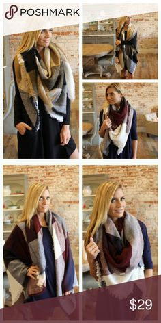 Trendy Blanket Scarf Maroon,  Navy and white Very trendy blanket scarf in the color Maroon,  navy and white  It is gorgeous on and there are so many ways to it! Accessories Scarves & Wraps