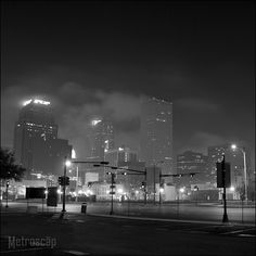 Framed Black and White Art of Fog Envelopes Downtown New Orleans. Ready-to-hang, limited-edition black and white photography of New Orleans landmarks and cityscape photography. Black And White Photo Wall, Black And White City, Black And White Pictures, White Art, Black And White Photography, New Orleans Skyline, Downtown New Orleans, Cityscape Photography, City Photography