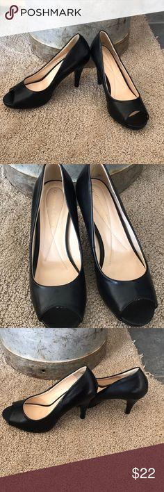 ANDREW GELLER black heels Open toe black heels good condition. Size 7 Andrew Geller Shoes Heels