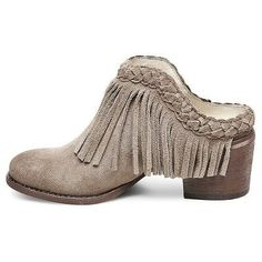 Women's Soho Cobbler Chrysnth Braided Fringe Leather Mules - Taupe (Brown) 8.5