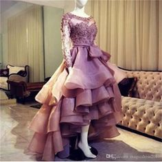 Sheer Long Sleeves Lace Appliques Prom Dresses Tired Skirt High Low Scoop Zipper Back Organza Homecoming Party Dresses Evening Gowns 2017 Party Prom Dresses Beaded Formal Evening Gown Crystal Evening Gowns Online with 146.0/Piece on Magicdress2011's Store | DHgate.com