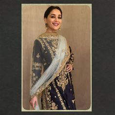 Madhuri Dixit wearing Rimple & Harpeet Narula midnight blue handloom chanderi kalidar