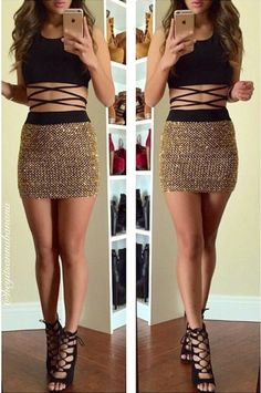 Lumier Loved Gold Skirt – Colors of Aurora Skirt Outfits, Sexy Outfits, Sexy Dresses, Cute Dresses, Trendy Outfits, Dress Skirt, Dress Up, Cute Outfits, Fashion Outfits