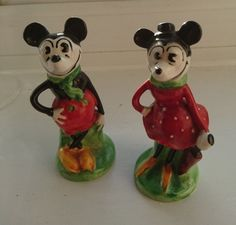 RARE 1930's Mickey and Minnie Mouse Salt & Pepper Shakers Disney | eBay