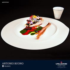 Antonio Buono will represent France with his winning signature dish of Mediterranean scorpion fish, black rouille, rhubarb, wild celery and mountain flowers.