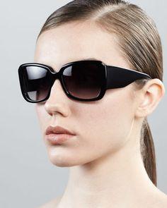 Vreeland+Square+Sunglasses,+Black+by+Barton+Perreira+at+Bergdorf+Goodman.