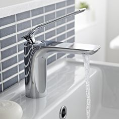The Alaric basin tap features a sleek, contemporary design